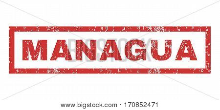 Managua text rubber seal stamp watermark. Tag inside rectangular banner with grunge design and dust texture. Horizontal vector red ink sticker on a white background.