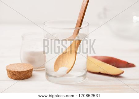 Sea Salt, Starch In The Jar, Cut The Potatoes Into Slices For Recipes Of Cosmetics At Home On A Whit