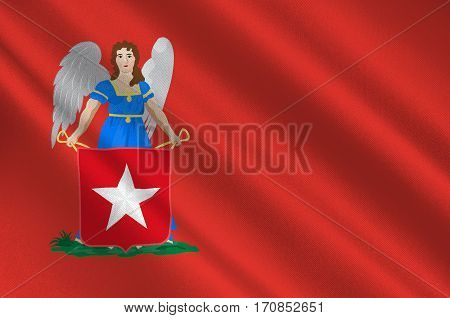 Flag of Maastricht is a town and a municipality in the southeast of the Netherlands. It is the capital city of the province of Limburg. 3d illustration