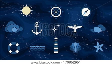 Vector flat sea design background. Cute template with seashell seagull bird lighthouse lifebuoy starfish anchor and ocean waves.