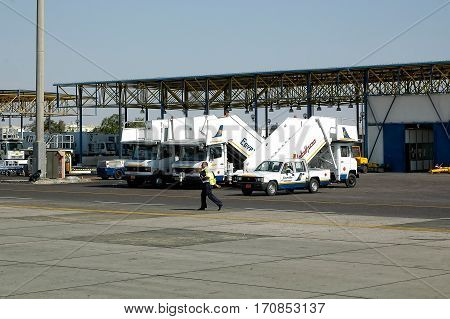 Hurghada, Egypt - November 5, 2006: Hurghada Inetrnational airport. Parking lot of air ladders