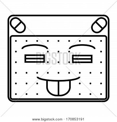 simple thin line playful emoticon icon vector