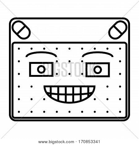 simple thin line smirk emoticon icon vector