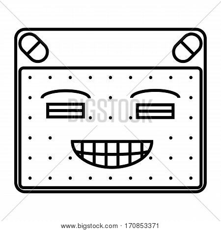 simple thin line smirk close eyes icon vector