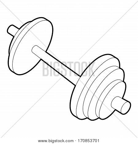 Barbell icon. Outline illustration of barbell vector icon for web