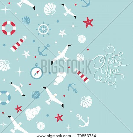 Vector flat sea design background with text. Cute template with seashell seagull bird lighthouse lifebuoy starfish anchor and ocean waves.