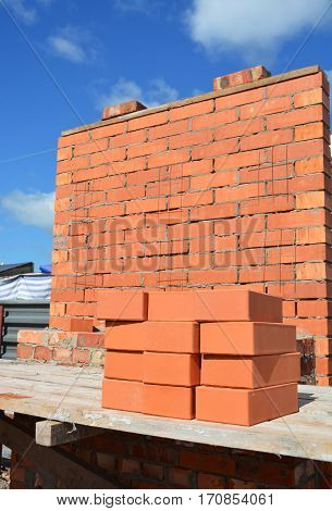 Bricklaying new  House Construction Site Concept. Closeup.