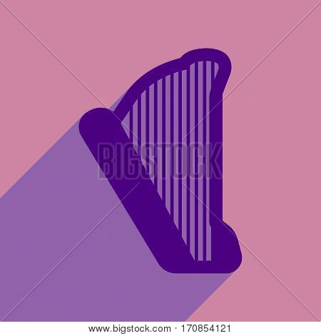 Flat web icon with long shadow harp