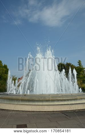 A view of the large fountain in Amaliehaven gardens in Copenhagen