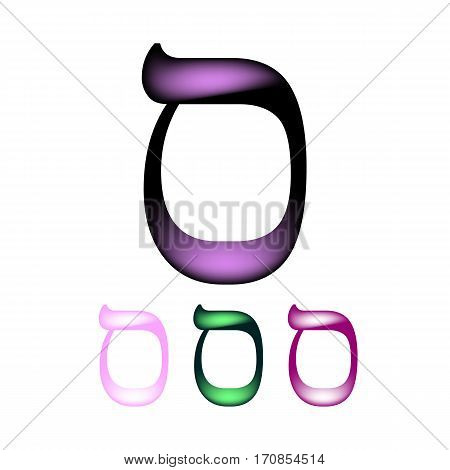 Hebrew font. The Hebrew language. The letter Samech. Vector illustration on isolated background.