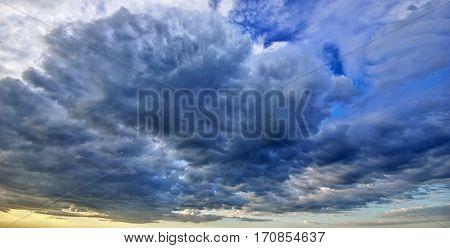 dark storm clouds. overcast sky. Dark sky