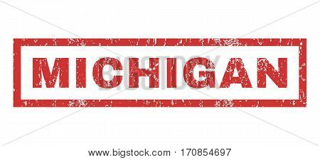 Michigan text rubber seal stamp watermark. Caption inside rectangular shape with grunge design and unclean texture. Horizontal vector red ink sign on a white background.