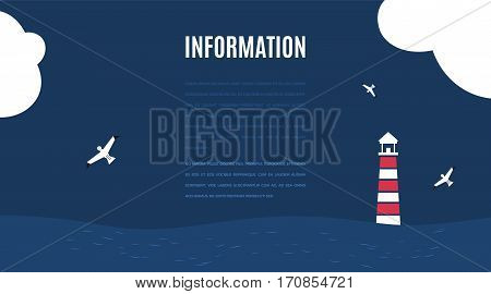 Vector flat ocean design background with text place. Cute template with seagull birds lighthouse clouds and ocean waves.