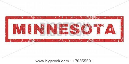 Minnesota text rubber seal stamp watermark. Caption inside rectangular shape with grunge design and scratched texture. Horizontal vector red ink sign on a white background.