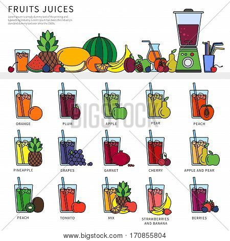 Thin line flat design of fruits and squeezer on the table. Fresh juice concept, icons for restaurant menu, fruits and juicer, glasses of different juices with tubules isolated on white background