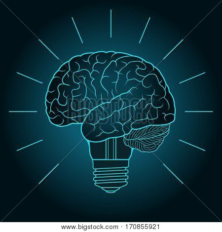 Abstract illustration with brain and light bulb. Design concept for invention and innovation creativity idea