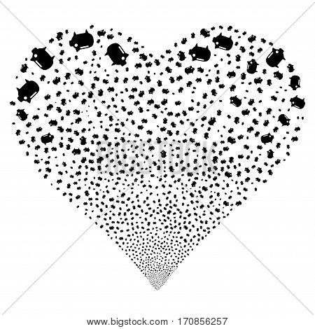 Piggy Bank fireworks with heart shape. Vector illustration style is flat black iconic symbols on a white background. Object salute done from random design elements.
