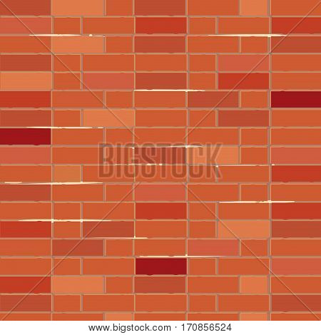 Red brick wall vector illustration background. Architectural design background with old brick wall