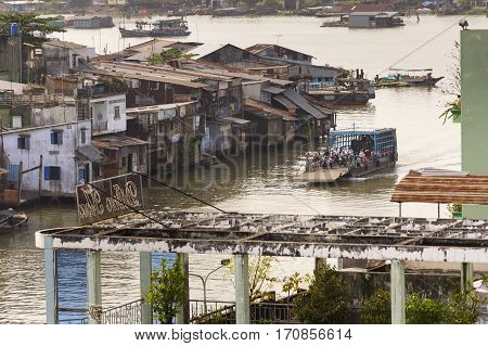 My Tho, Vietnam - February 13: People Crossing Mekong River On Ferry On February 13, 2012 In My Tho,