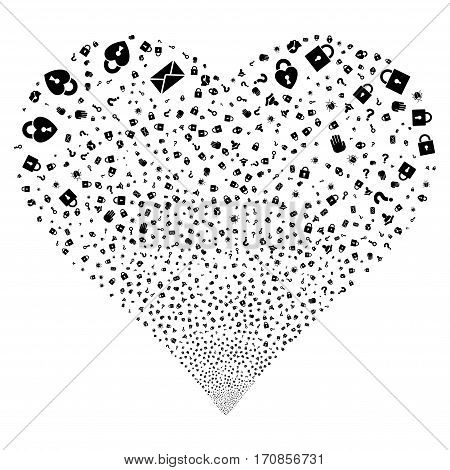 Secrecy Symbols fireworks with heart shape. Vector illustration style is flat black iconic symbols on a white background. Object valentine heart created from confetti symbols.