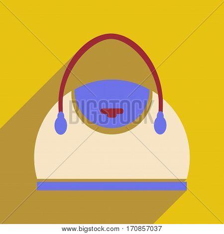 Flat icon with long shadow leather handbag