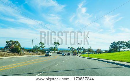 a crossroad in Malibu in California, usa