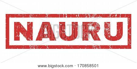 Nauru text rubber seal stamp watermark. Caption inside rectangular banner with grunge design and scratched texture. Horizontal vector red ink sticker on a white background.