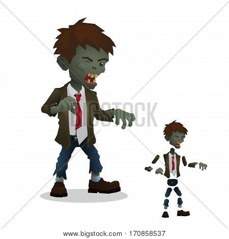 Zombie. The character of the parts for the animation. For banners for games for cartoons. Vector illustration.
