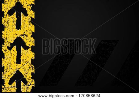 Grunge distressed yellow road marking arrows on dark metal background element illustration