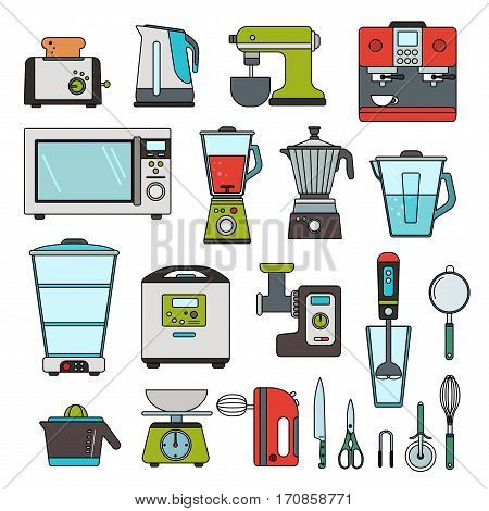 Thin line flat design of automatic equipment for cooking. Different types of automatic tools for kitchen, filter, oven, mixer, blender and other machines isolated on white background