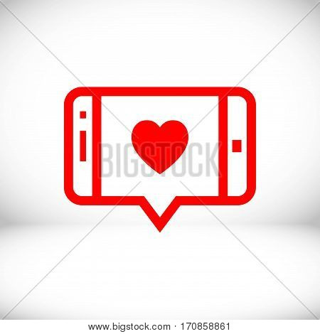 message or love chat on smartphone icon stock vector illustration flat design