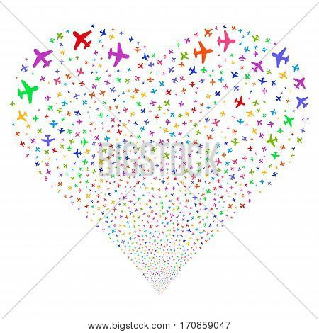 Airplane fireworks with heart shape. Vector illustration style is flat bright multicolored iconic symbols on a white background. Object valentine heart made from random icons.