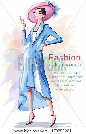 Stylish hand drawn woman in hat. Fashion woman. Sketch. Vector illustration.
