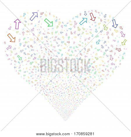 Arrow fireworks with heart shape. Vector illustration style is flat bright multicolored iconic symbols on a white background. Object love heart made from scattered icons.