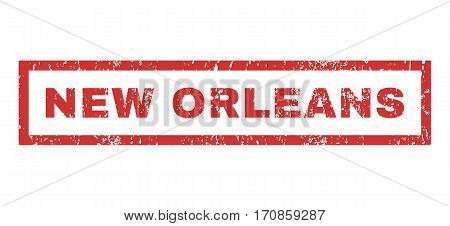 New Orleans text rubber seal stamp watermark. Tag inside rectangular shape with grunge design and dirty texture. Horizontal vector red ink sign on a white background.