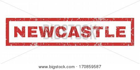 Newcastle text rubber seal stamp watermark. Tag inside rectangular shape with grunge design and dust texture. Horizontal vector red ink sticker on a white background.