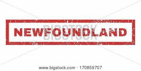 Newfoundland text rubber seal stamp watermark. Caption inside rectangular banner with grunge design and scratched texture. Horizontal vector red ink emblem on a white background.