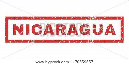 Nicaragua text rubber seal stamp watermark. Caption inside rectangular shape with grunge design and scratched texture. Horizontal vector red ink sticker on a white background.