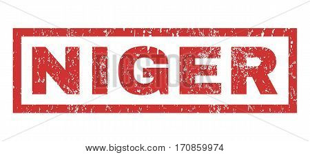 Niger text rubber seal stamp watermark. Caption inside rectangular banner with grunge design and dirty texture. Horizontal vector red ink emblem on a white background.
