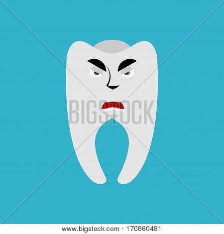 Tooth Angry Emoji. Teeth Grumpy Emotion Isolated