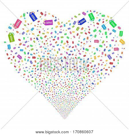 Free Tag fireworks with heart shape. Vector illustration style is flat bright multicolored iconic symbols on a white background. Object heart constructed from scattered design elements.