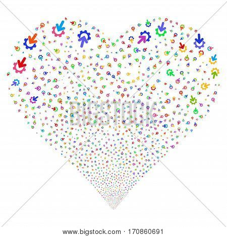 Gear Integration fireworks with heart shape. Vector illustration style is flat bright multicolored iconic symbols on a white background. Object love heart constructed from scattered pictographs.