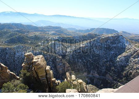 Santa Catalina mountain rocks with hazy background