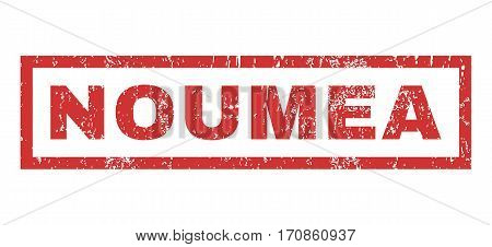 Noumea text rubber seal stamp watermark. Tag inside rectangular banner with grunge design and scratched texture. Horizontal vector red ink sticker on a white background.