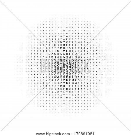 Abstract geometric black and white deco art print halftone pattern with letters