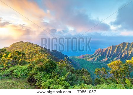 Amazing view of Kalalau Valley and Na Pali coast, Kauai island, Hawaii