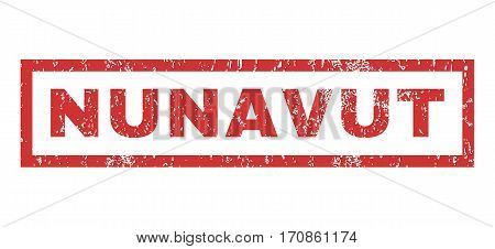 Nunavut text rubber seal stamp watermark. Caption inside rectangular banner with grunge design and unclean texture. Horizontal vector red ink emblem on a white background.