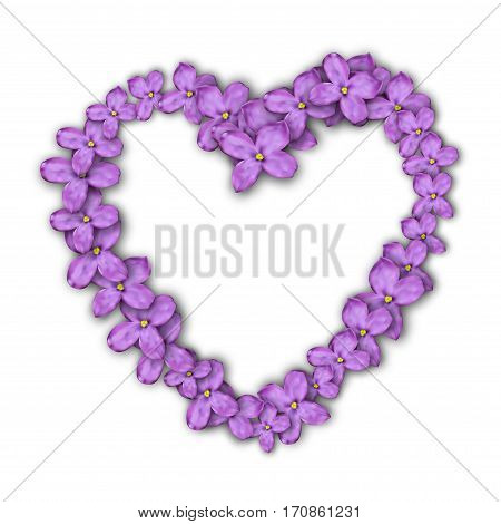 Heart of lilac flowers. Postcard to the Valentine's day.