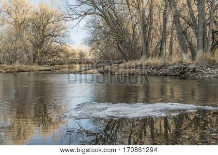 bike trail footbridge over Poudre River at Legacy park in Fort Collins, COlorado, winter scenery