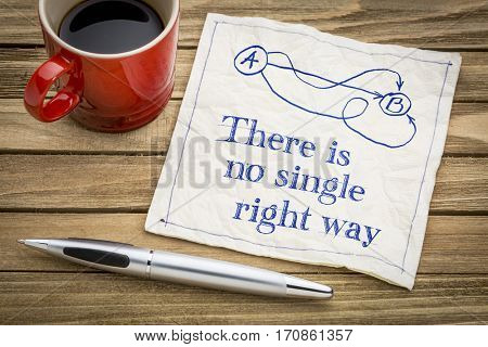 There is no single right way - handwriting and doodle on a napkin with a cup of espresso coffee